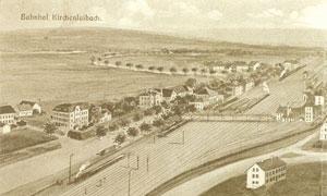 Historisches Luftbild vom Bahnhof Kirchenlaibach