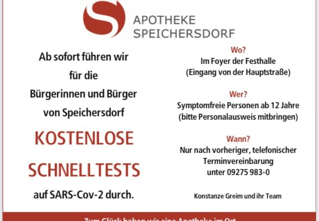 Anzeige Testzentrum Speichersdorf
